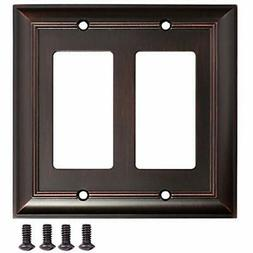 AmazonBasics Wall Plates Double Gang Plate, Oil Rubbed Bronz