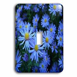 3dRose Wall of Vibrant Blue Daisies, Single Toggle Switch