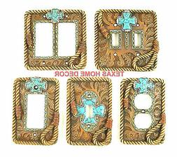 Western Rustic Switch Plate Covers Turquoise Cross Floral To