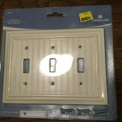 Brainerd white beadboard triple toggle Wall Plate # 126360