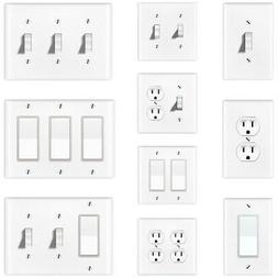 White Duplex Toggle Outlet Rocker Light Switch Wall Plate Co