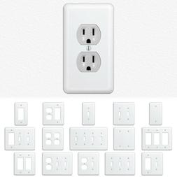 White Metal Wall Switch Plate Outlet Cover Toggle Duplex Roc