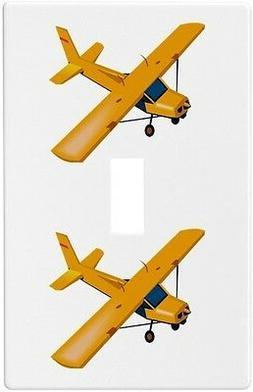 Yellow Airplane Wallplate Wall Plate Decorative Light Switch